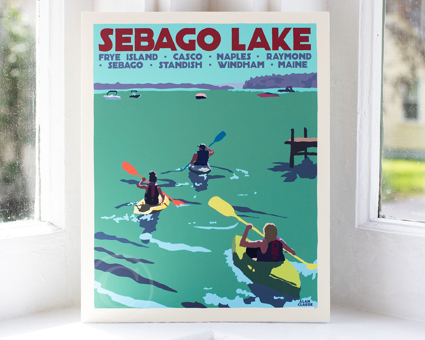 "Sebago Lake kayakers Art Print 8"" x 10"" Travel Poster - Maine by Alan Claude"