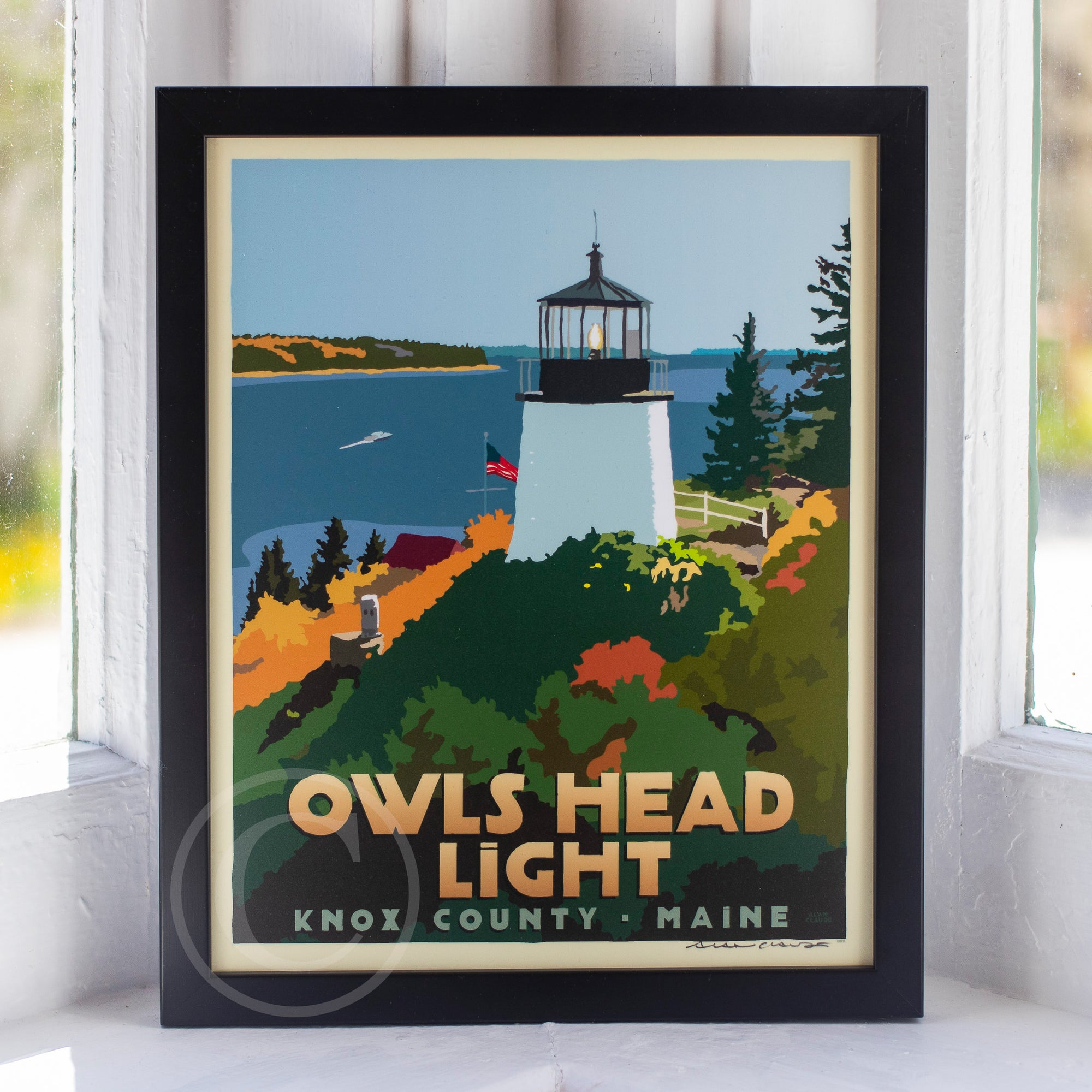 "Above Owls Head Light Art Print 8"" x 10"" Framed Travel Poster - Maine"