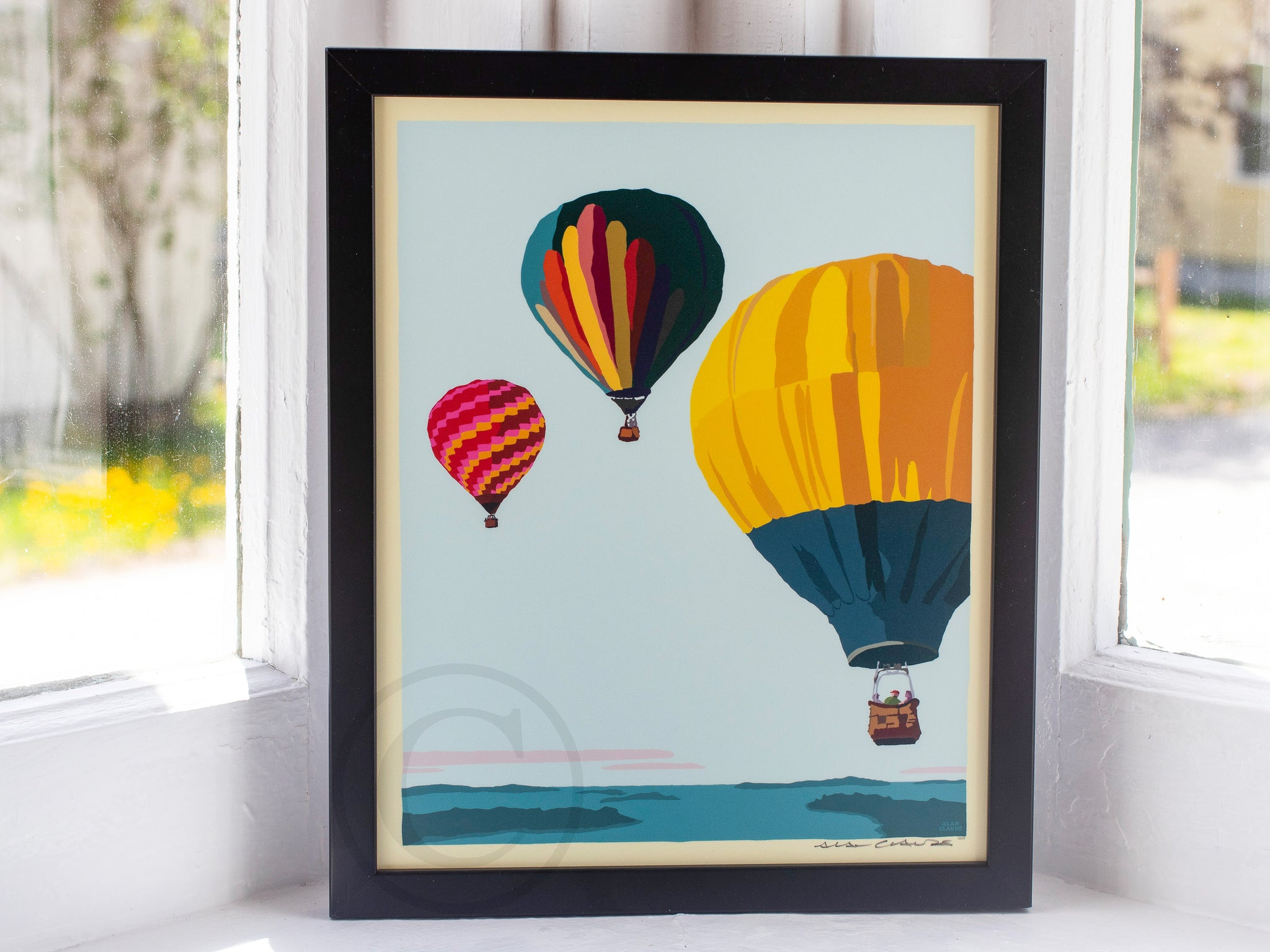 "Balloons Over Islands Art Print 8"" x 10"" Framed Wall Poster"