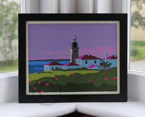 "Sunrise at Beavertail Light Art Print 8"" x 10"" Framed Wall Poster - Rhode Island"
