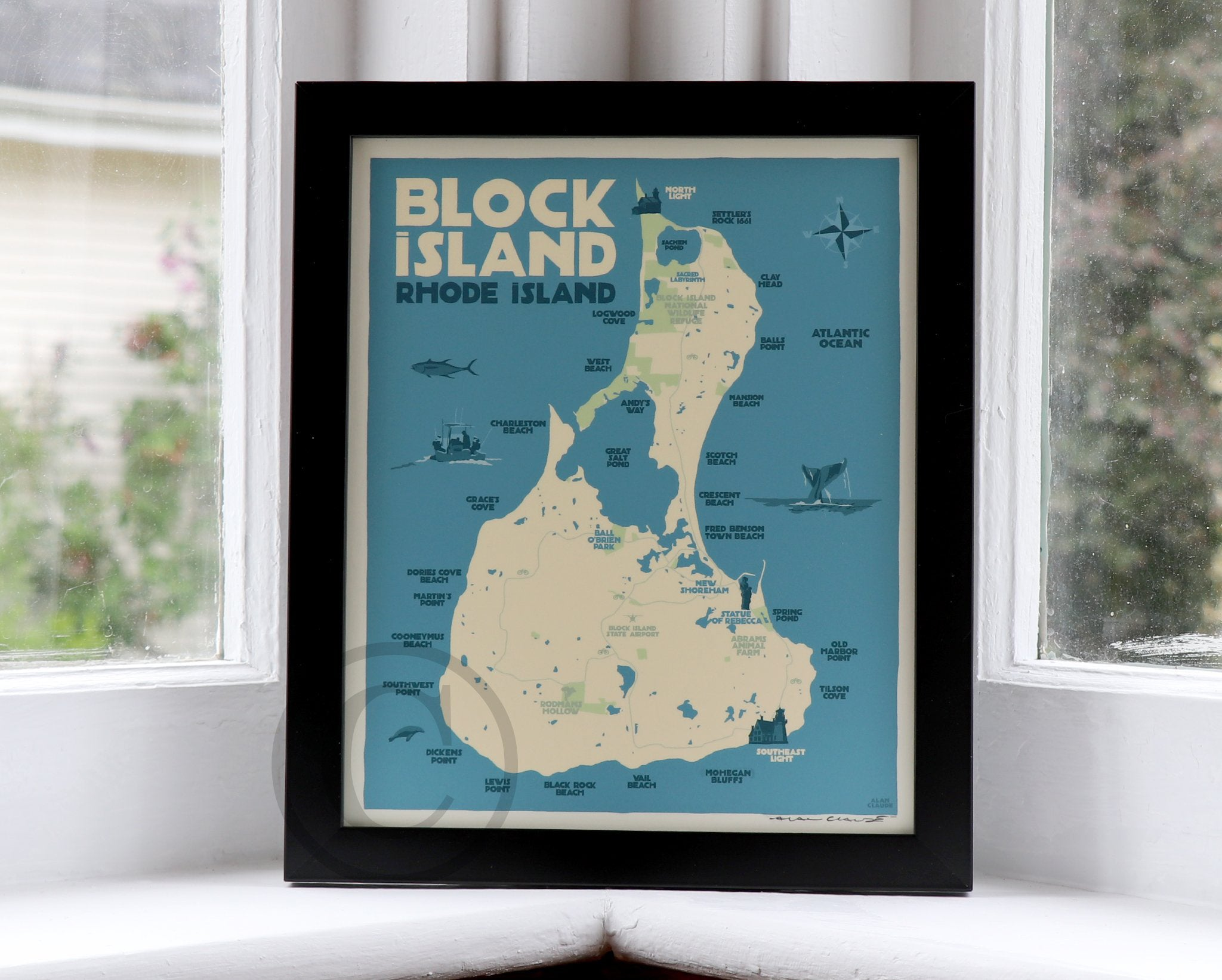 "Block Island Map Art Print 8"" x 10"" Framed Wall Poster - Rhode Island"