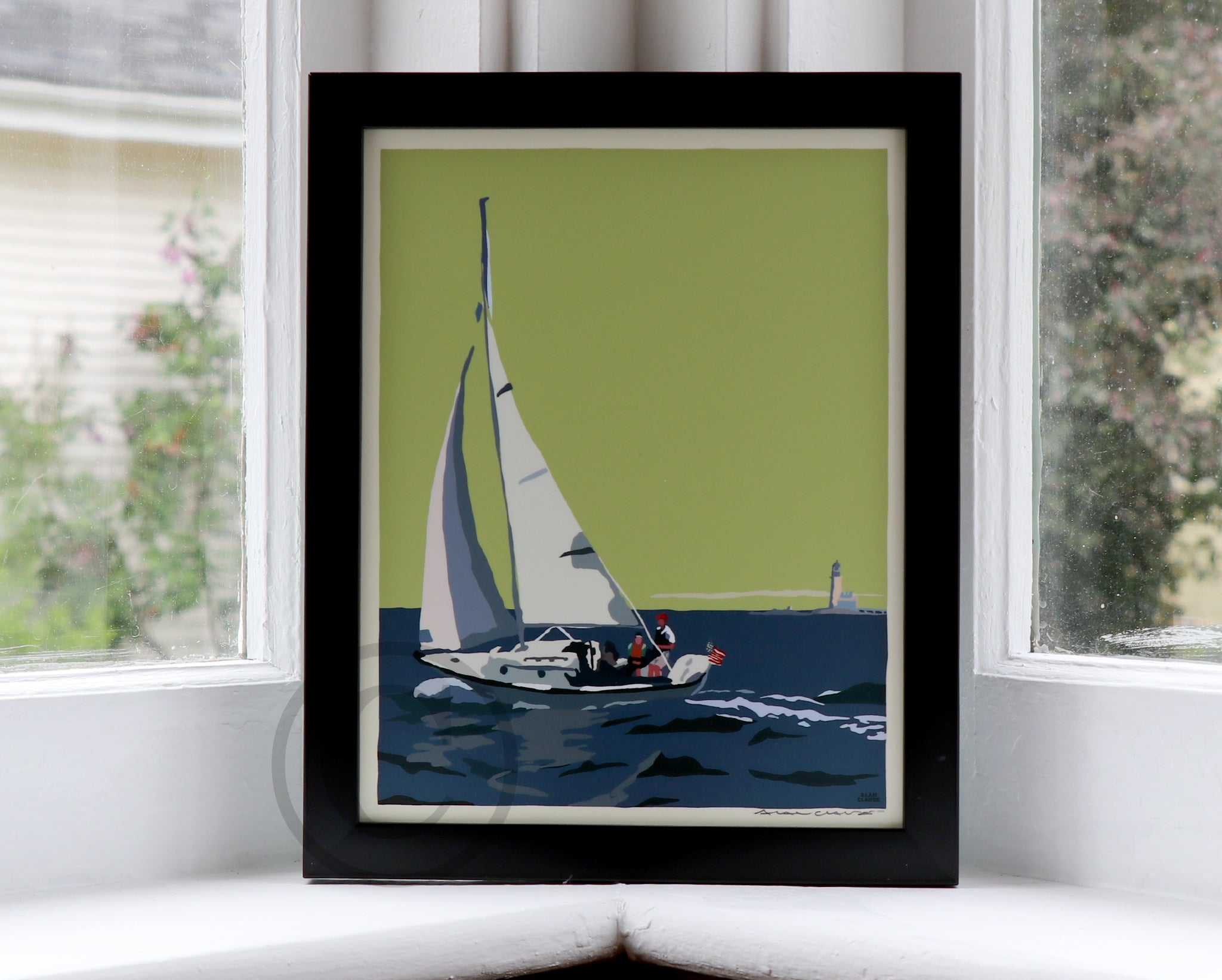 "Sailing Half Way Rock Light Art Print 8"" x 10"" Framed Travel Poster - Maine"