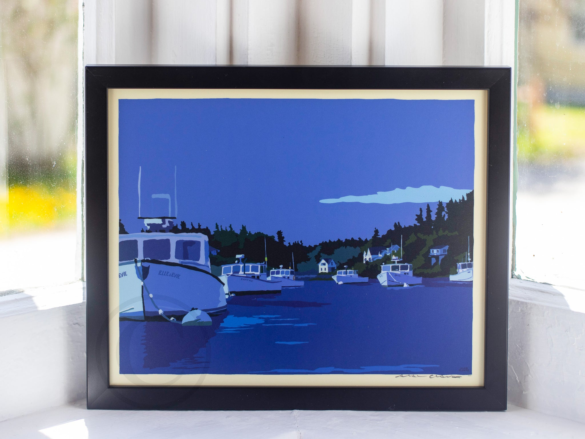 "Moonlight Over Port Clyde Art Print 8"" x 10"" Framed Wall Poster By Alan Claude"