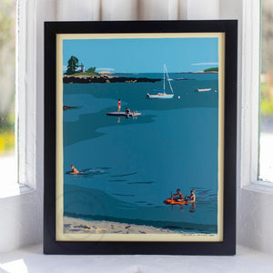 "Ocean Point Swimmers Art Print 8"" x 10"" Framed Wall Poster by Alan Claude"