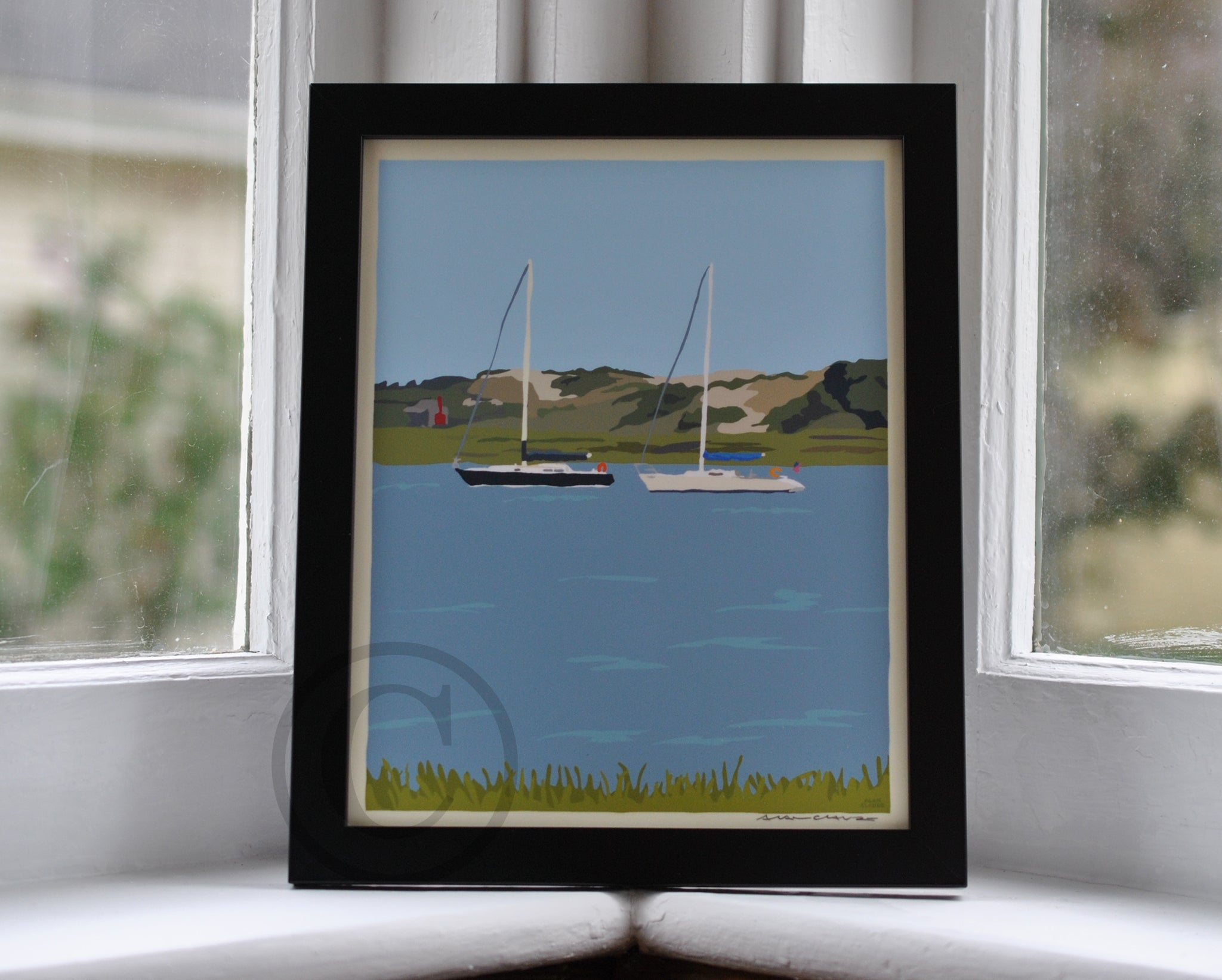 "Sailboats at Sandy Neck Art Print 8"" x 10"" Framed Travel Poster - Cape Cod"