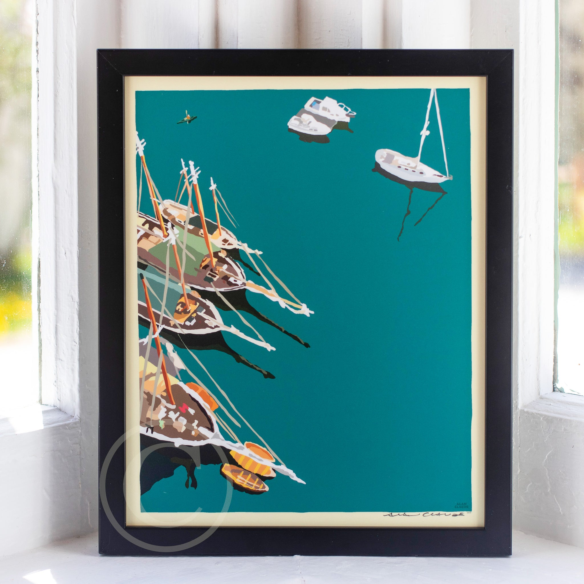 "Windjammers in Camden Harbor Art Print 8"" x 10"" Framed Wall Poster"