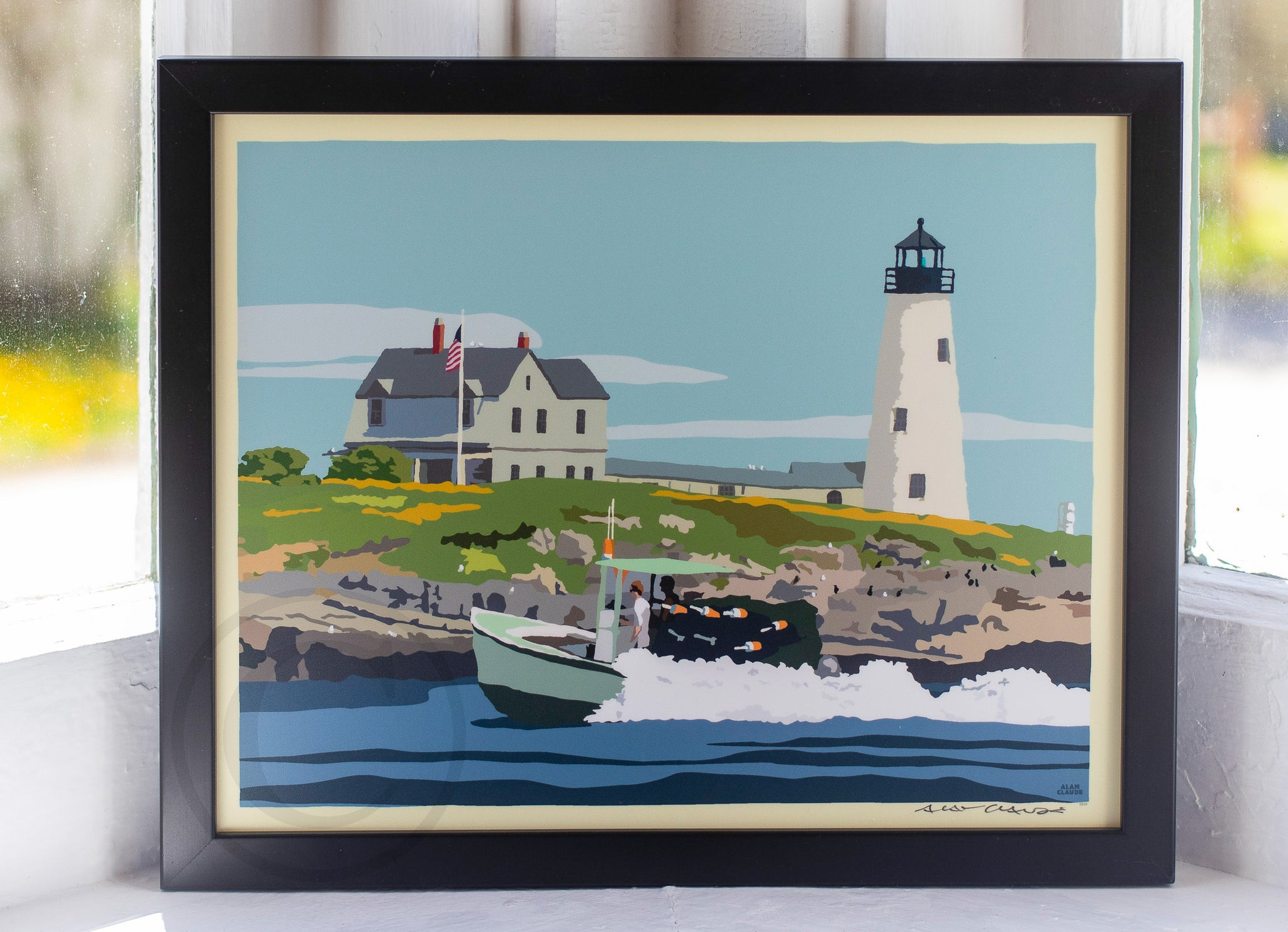 "Wood Island Light Art Print 8"" x 10"" Framed Wall Poster"