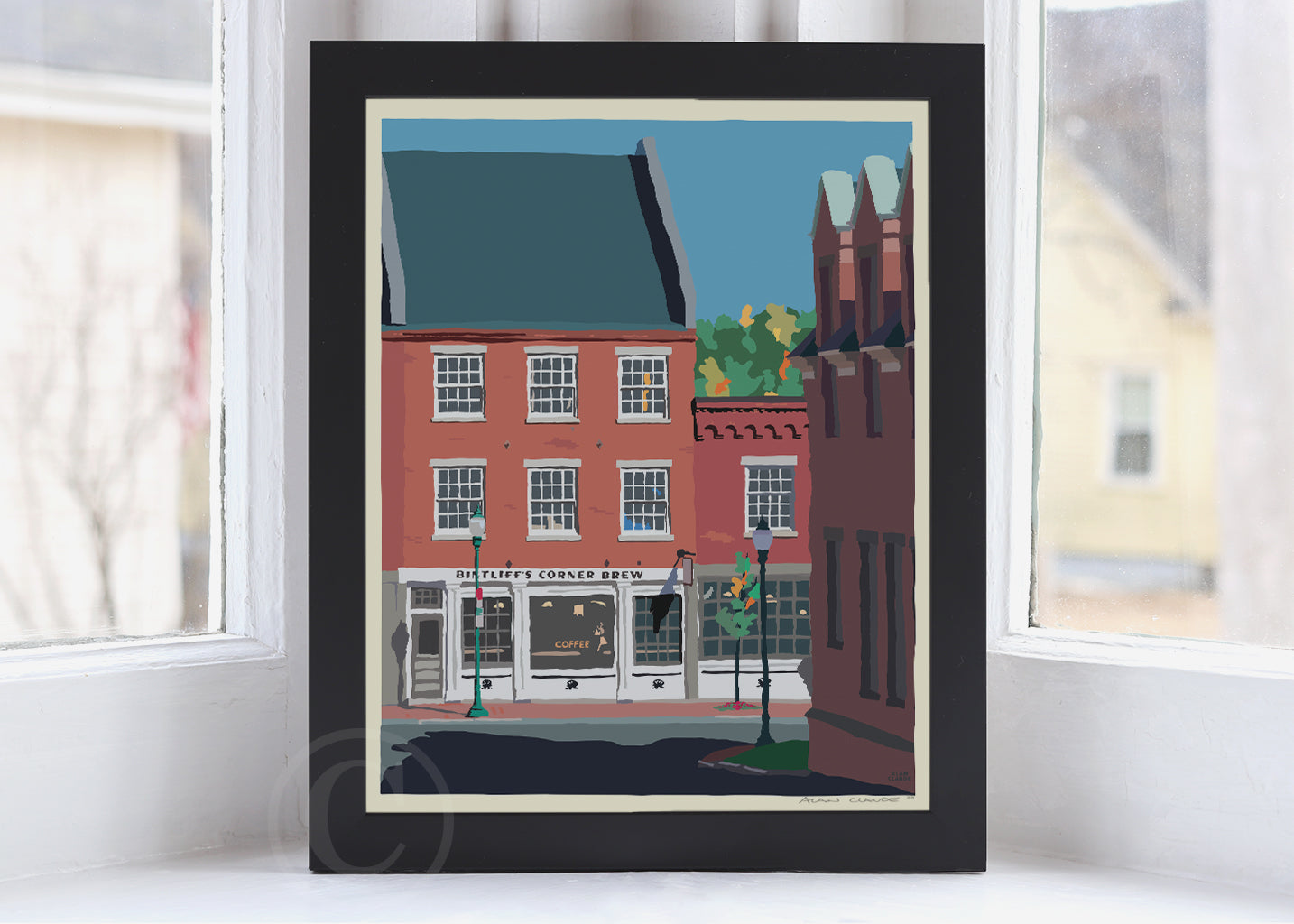 "Cafe in Gardiner Art Print 8"" x 10"" Framed Wall Poster By Alan Claude"