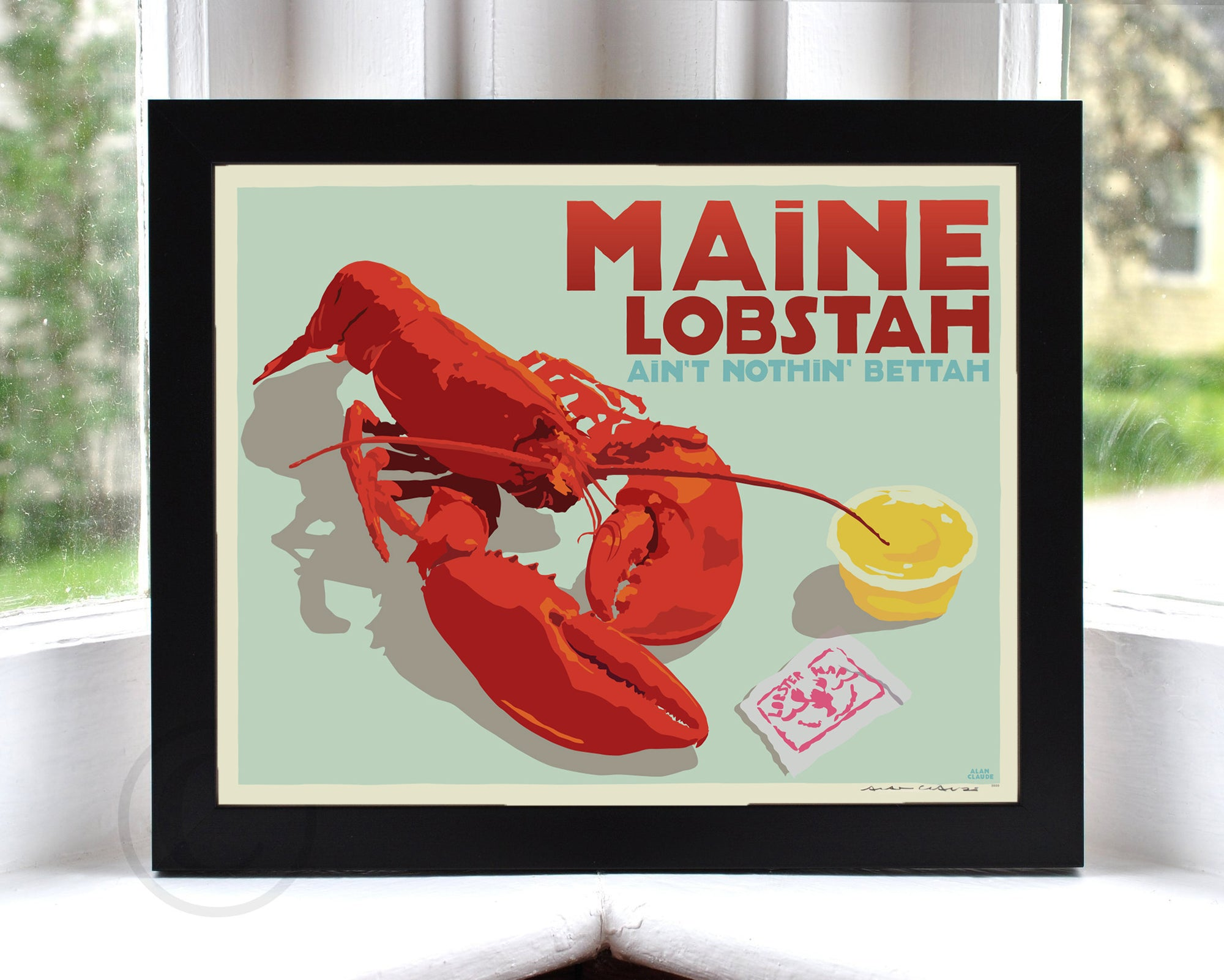 "Maine Lobstah with Butter Art Print (Horizontal) 8"" x 10"" Framed Wall Poster By Alan Claude"