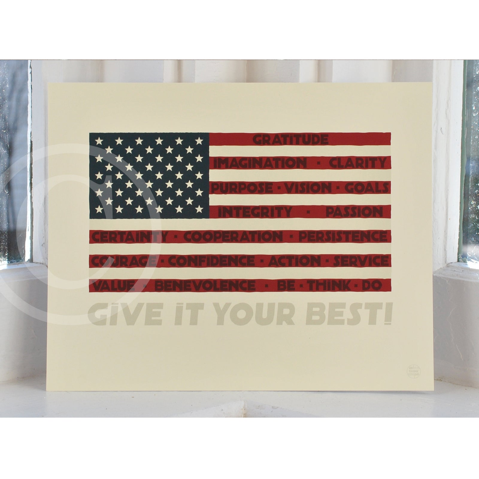 "GIVE IT YOUR BEST! USA Flag Art Print 8"" x 10"" Wall Poster"