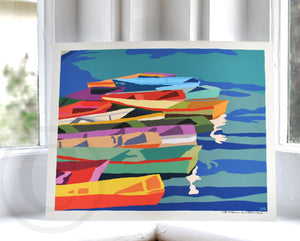 "Perkins Cove Dinghies (Horizontal) Art Print 8"" x 10"" Travel Poster - Maine"