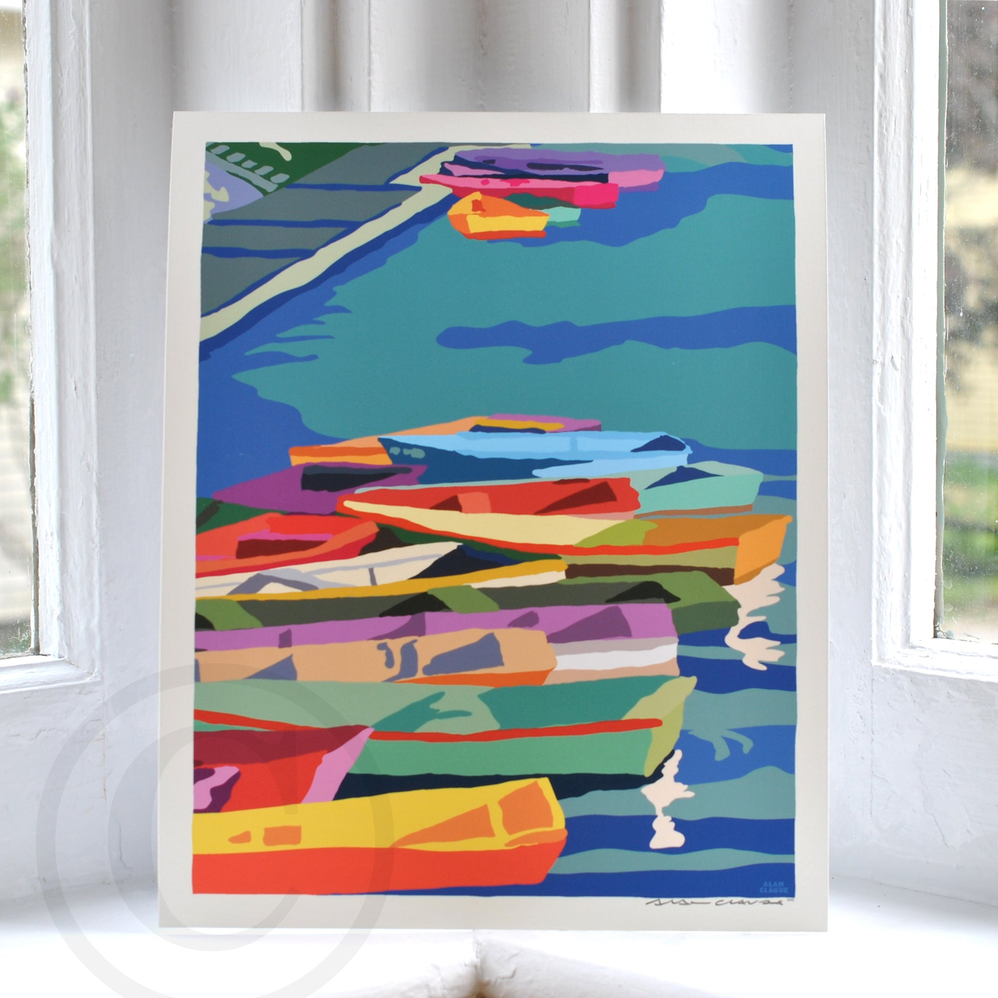 "Perkins Cove Dinghies Art Print 8"" x 10"" Travel Poster - Maine"