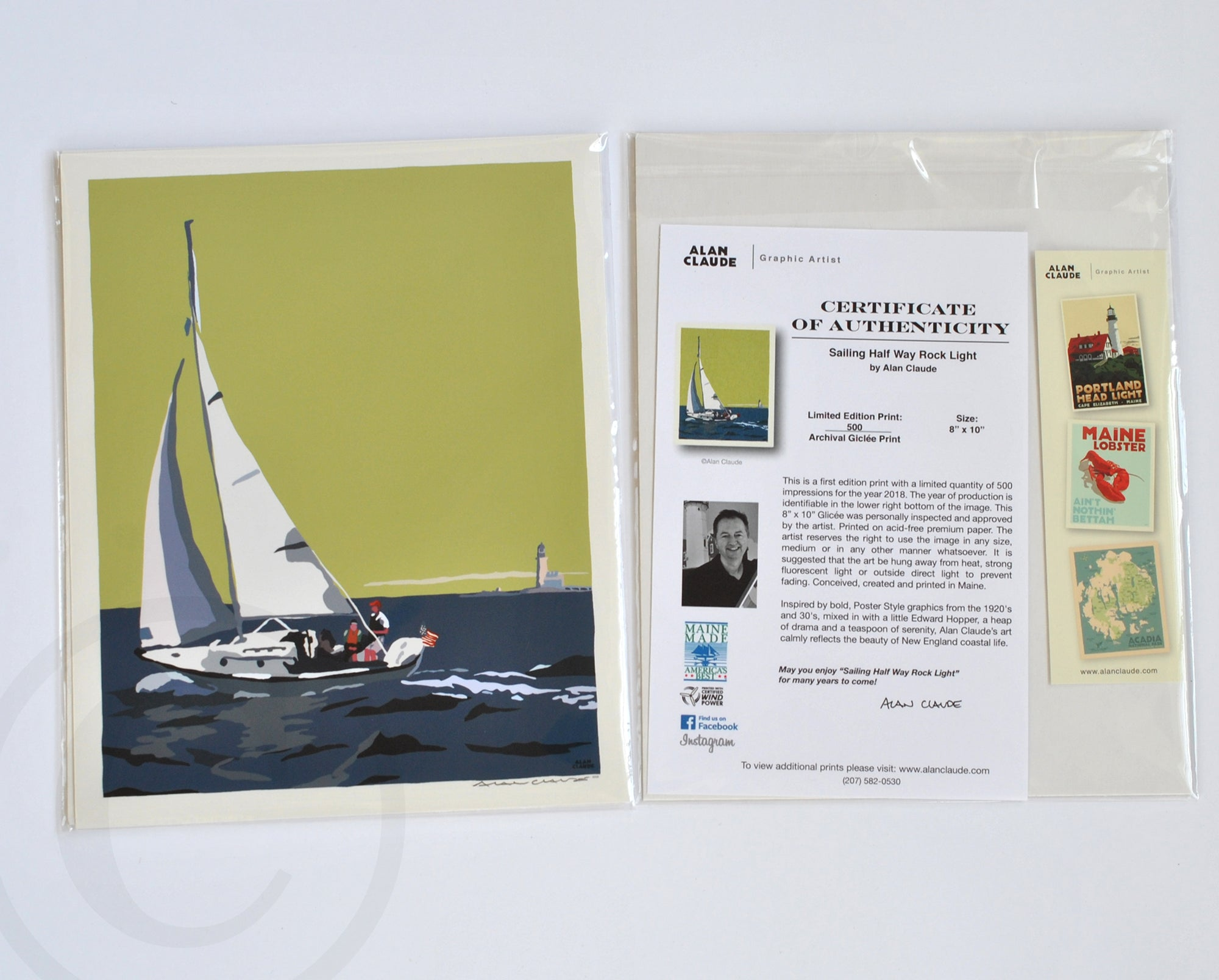 "Sailing Half Way Rock Light Art Print 8"" x 10"" Travel Poster - Maine"