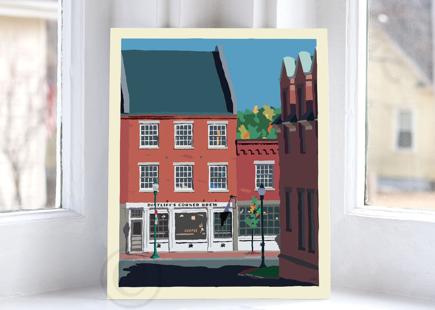 "Cafe in Gardiner Art Print 8"" x 10"" Wall Poster By Alan Claude"