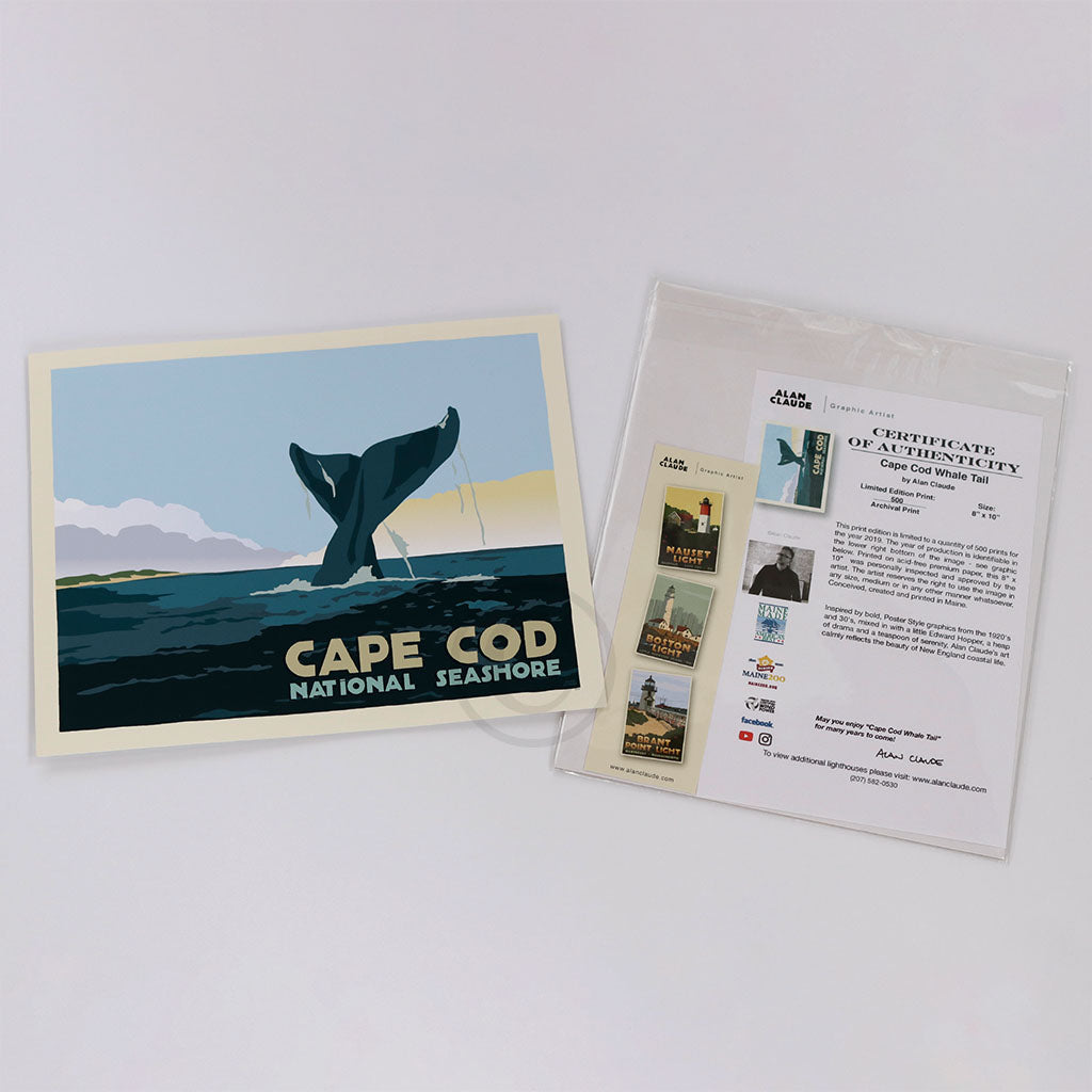 Cape Cod Whale Tail Art Print