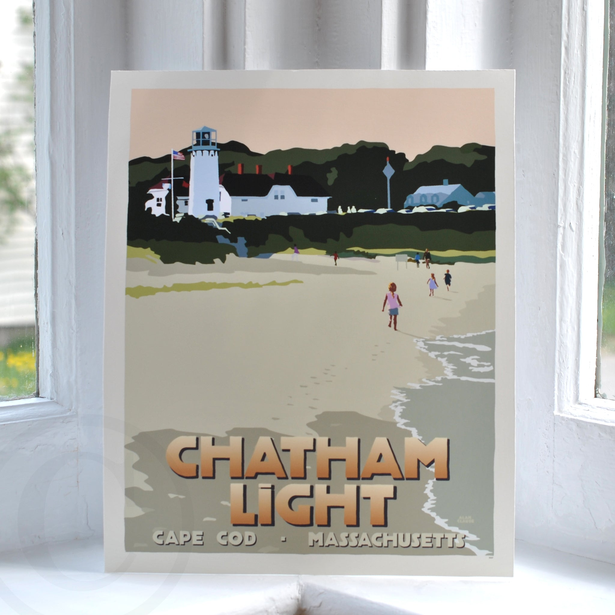 "Chatham Lighthouse Kids (with Title) Art Print 8"" x 10"" Wall Poster - Massachusetts"
