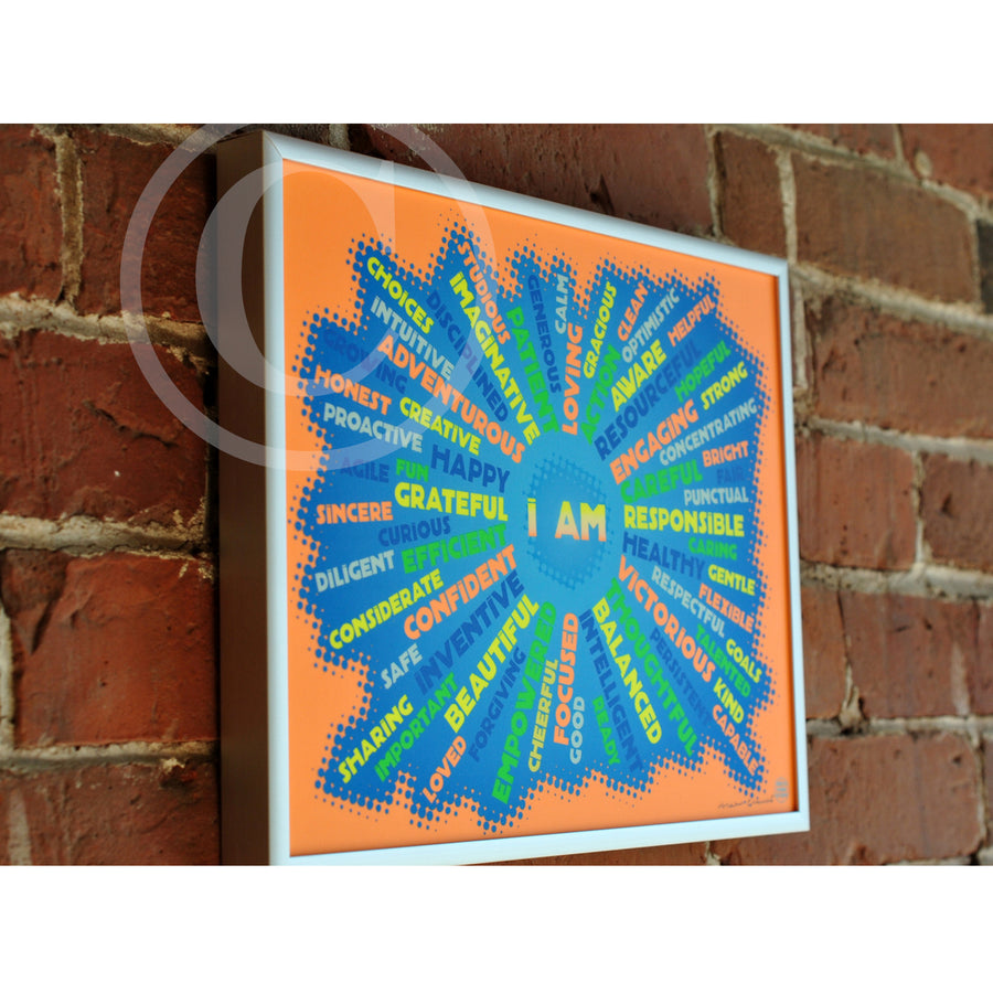"I AM Youth Mindfulness Art Print - Neon Orange  8"" x 10"" Framed"