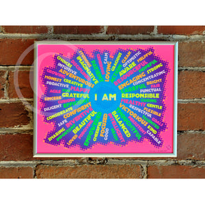 "I AM Youth Mindfulness Art Print - Neon Pink 8"" x 10"" Framed"