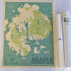 "Acadia National Park Map Art Print 18"" x 24"" Travel Poster - Maine"