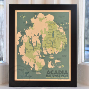 "Acadia National Park Map Art Print 8"" x 10"" Framed Travel Poster - Maine"