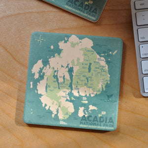 ACADIA National Park Map Art Drink Coaster - Maine
