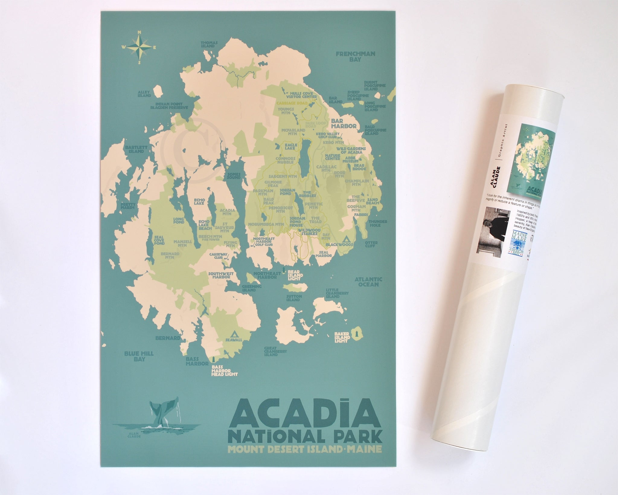 "Acadia National Park Map Art Print 11"" x 17"" Travel Poster - Maine"