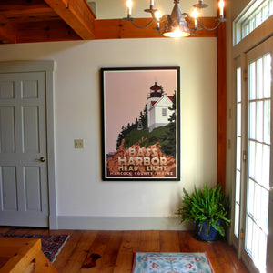 "Bass Harbor Head Light Art Print 36"" x 53"" Framed Travel Poster - Maine"