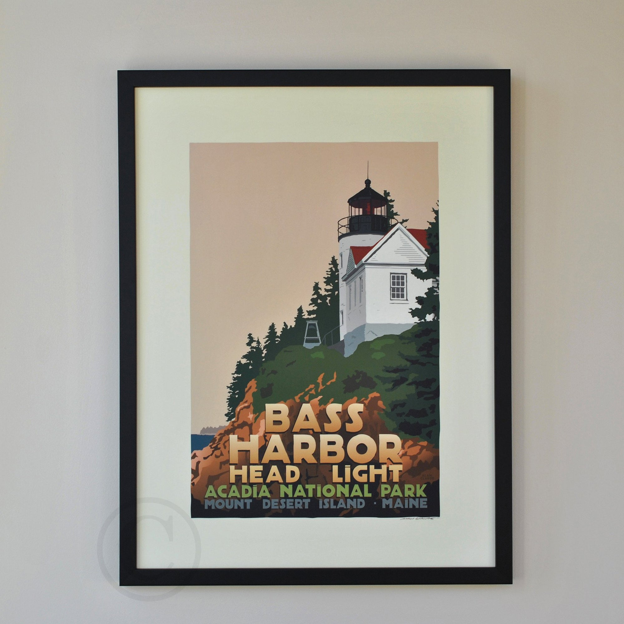 "Bass Harbor Head Light Art Print 18"" x 24"" Framed Travel Poster - Maine"