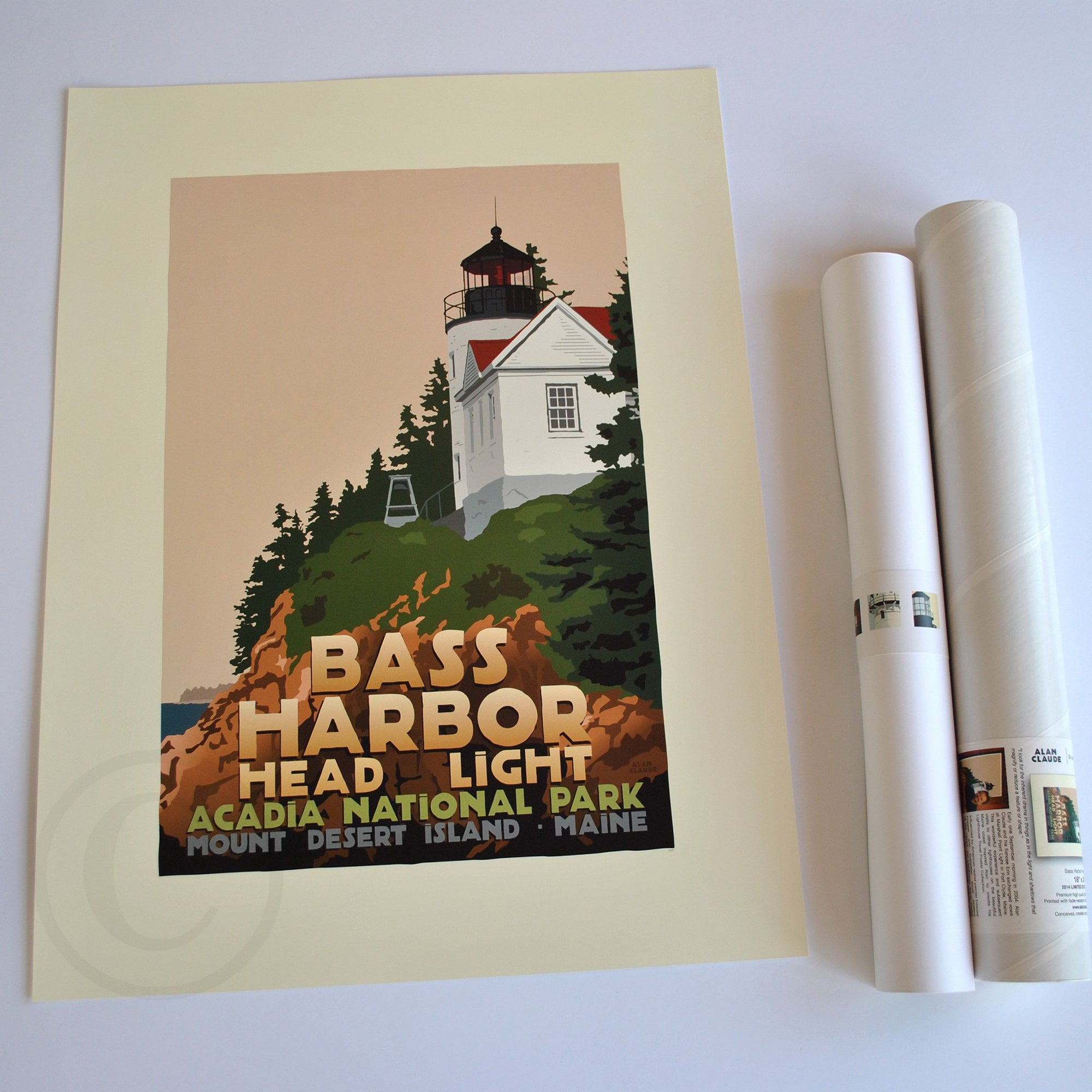 "Bass Harbor Head Light Art Print 18"" x 24"" Travel Poster - Maine"