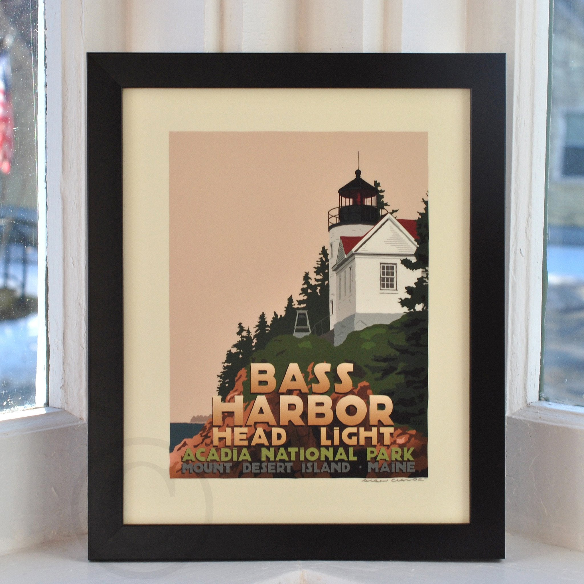 "Bass Harbor Head Light Art Print 8"" x 10"" Framed Travel Poster - Maine"