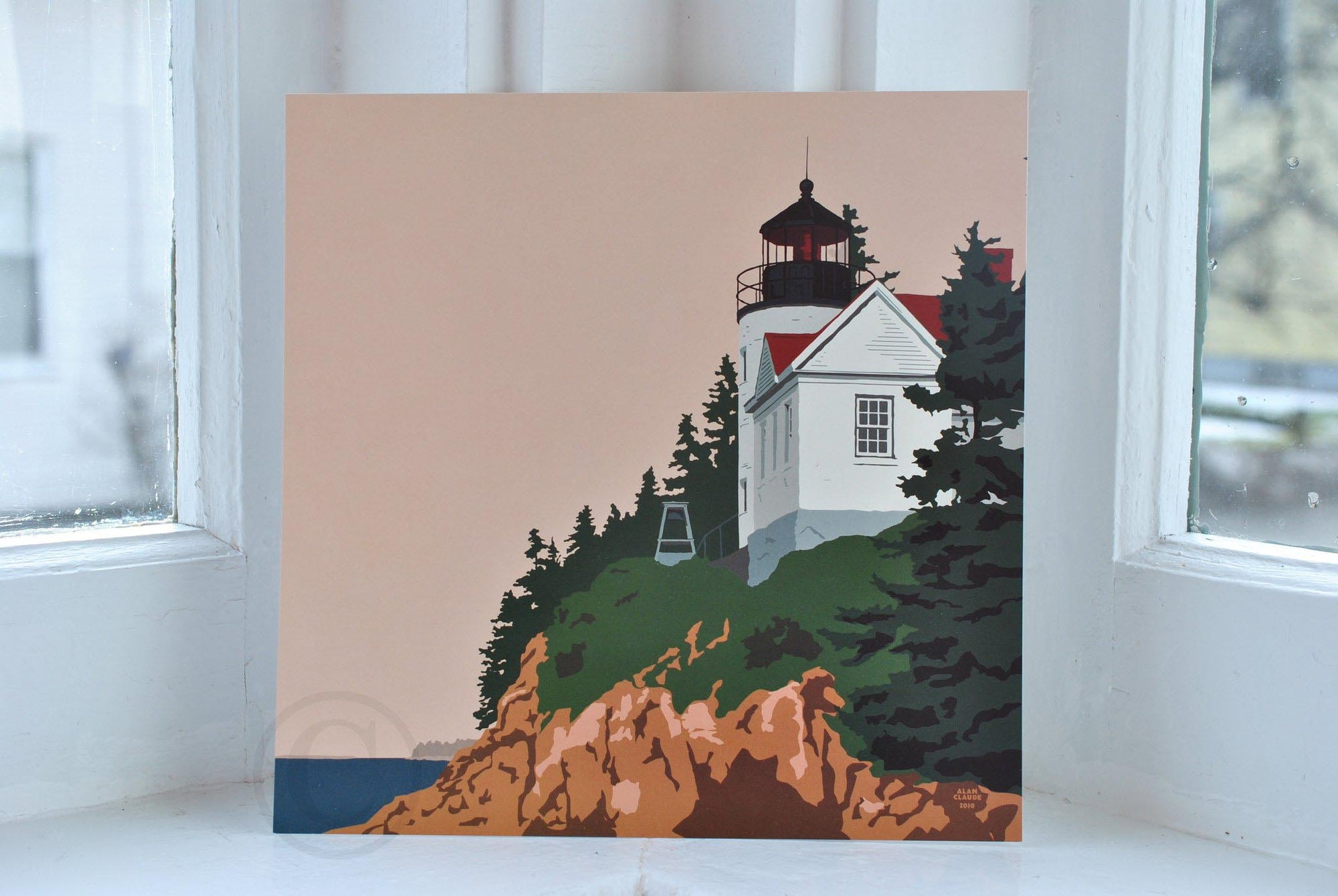 "Bass Harbor Head Light Art Print 8"" x 8"" Square"