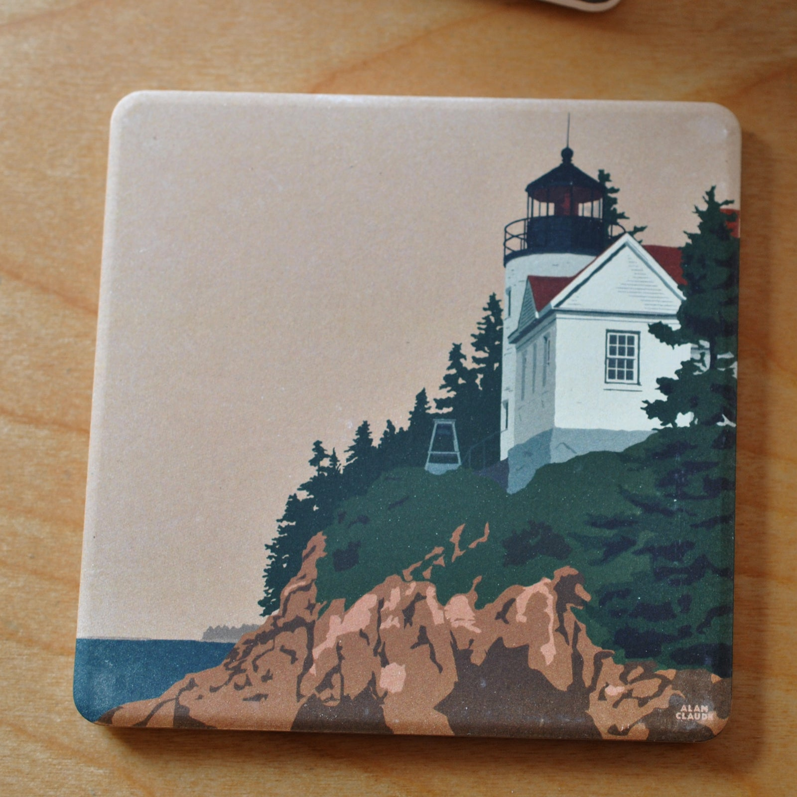 Bass Harbor Head Light ACADIA National Park Art Drink Coaster - Maine