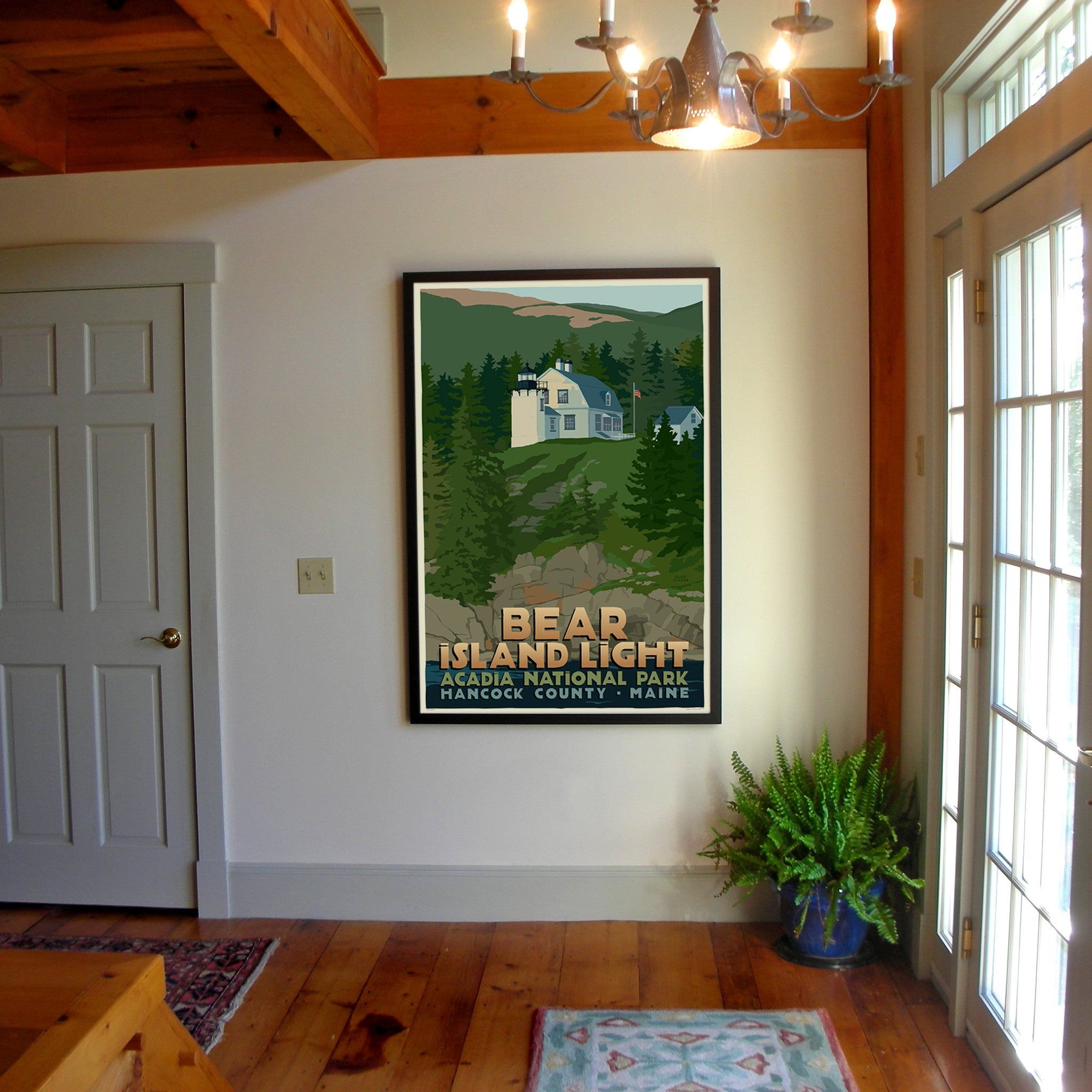 "Bear Island Light Art Print 36"" x 53"" Framed Travel Poster - Maine"