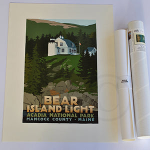 "Bear Island Light Art Print 18"" x 24"" Travel Poster - Maine"