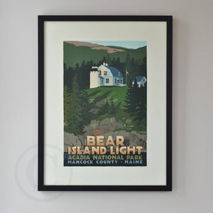"Bear Island Light Art Print 18"" x 24"" Framed Travel Poster - Maine"