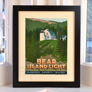 "Bear Island Light Art Print 8"" x 10"" Framed Travel Poster - Maine"