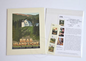 "Bear Island Light Art Print 8"" x 10"" Travel Poster - Maine"