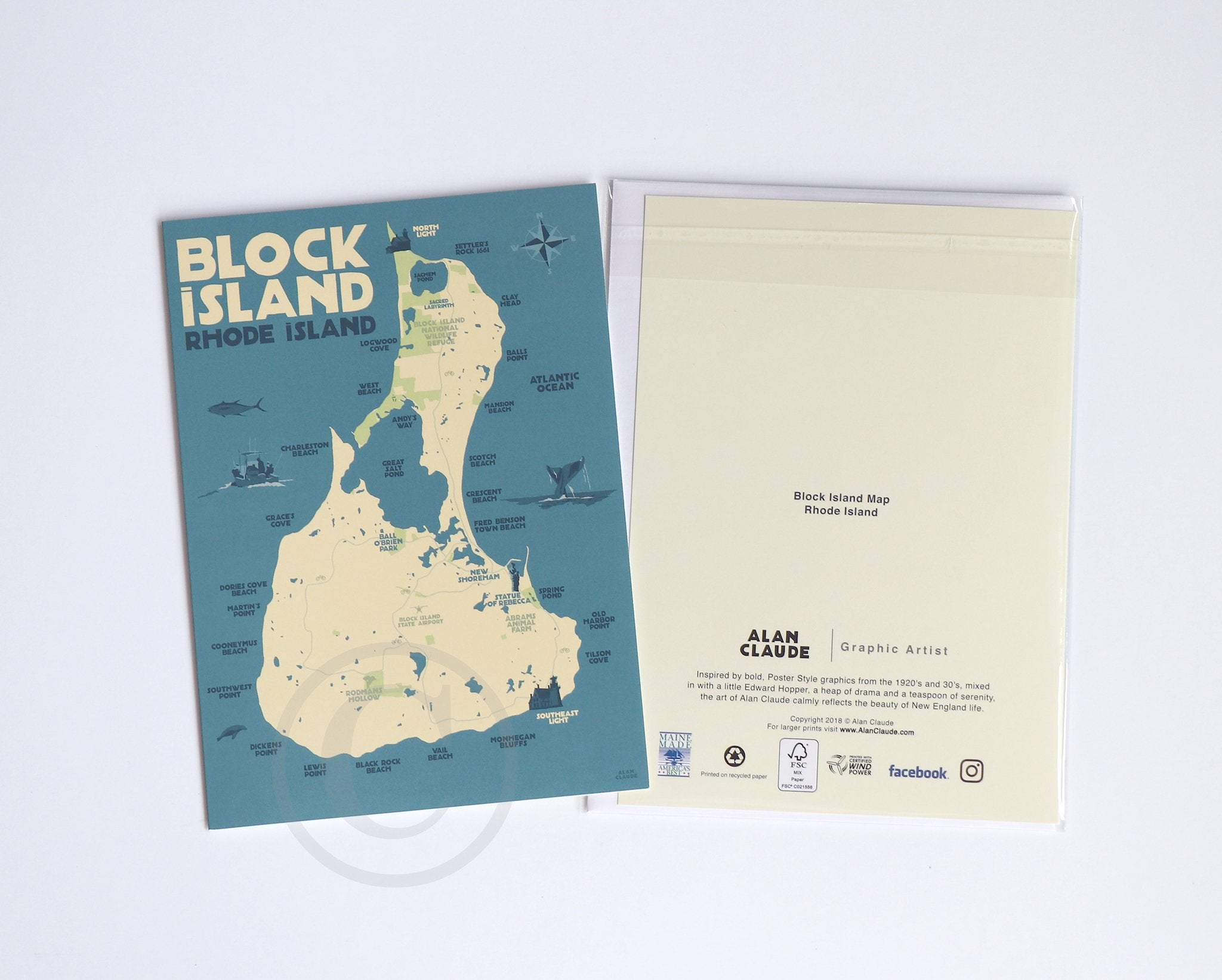 "Block Island Map  Notecard 5"" x 7""  - Rhode Island"