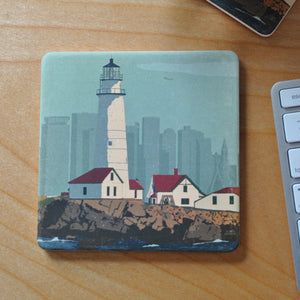 Boston Light Art Drink Coaster - Massachusetts
