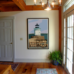 "Portland Breakwater Bug Light Art Print 36"" x 53"" Framed Travel Poster - Maine"