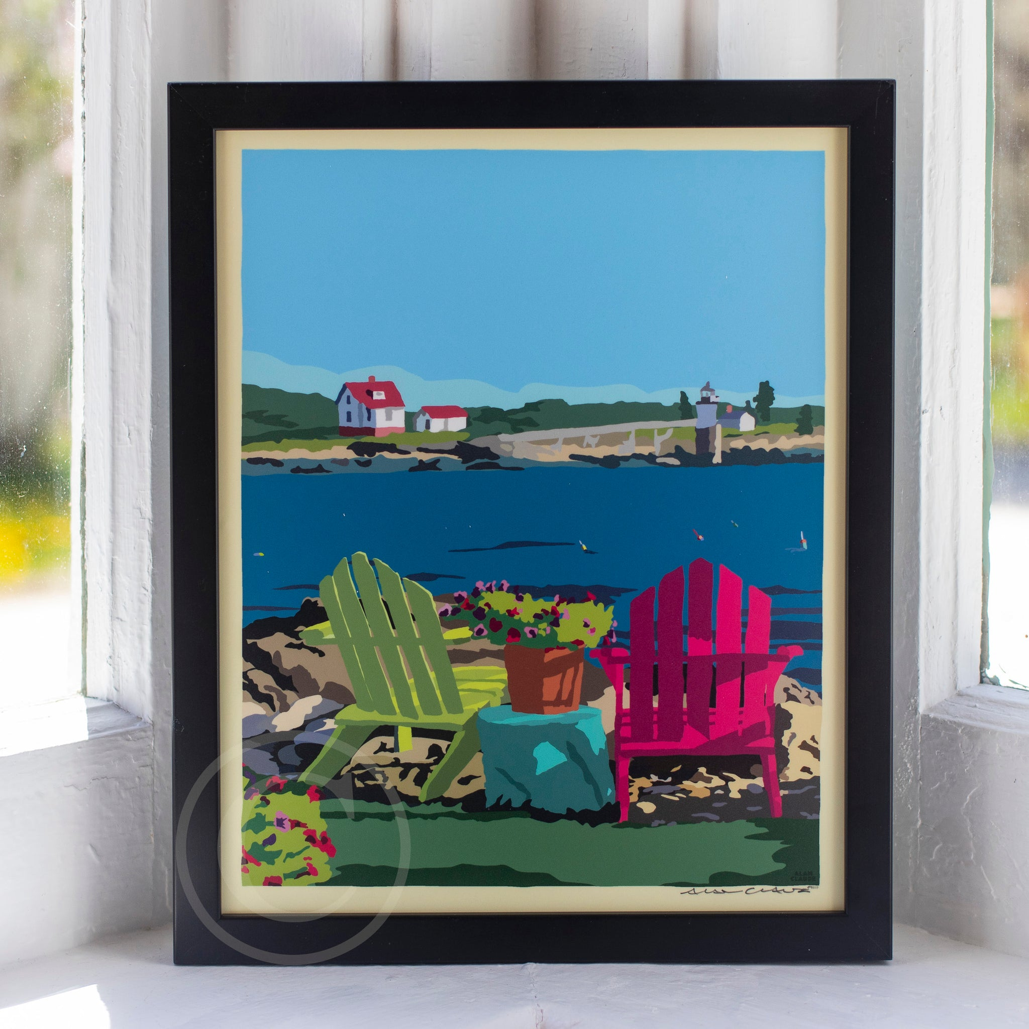 "Chairs Overlooking Ram Island Art Print 8"" x 10"" Framed Travel Poster"