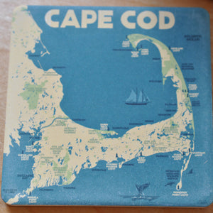 Cape Cod Map Art Drink Coaster - Massachusetts
