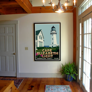 "Cape Elizabeth Light Art Print 36"" x 53"" Framed Travel Poster - Maine"