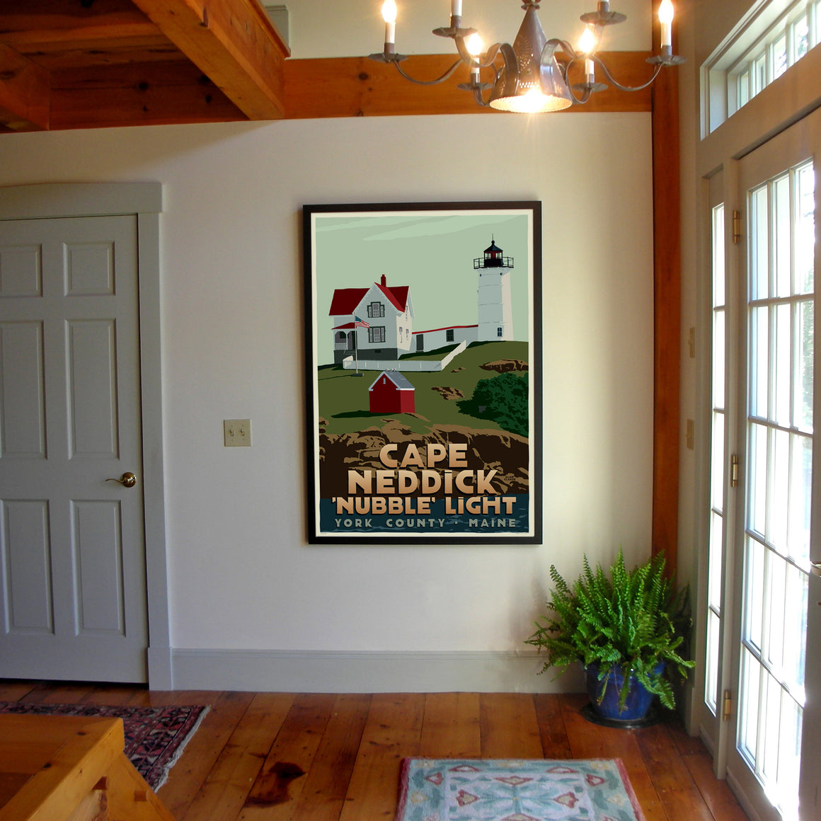"Cape Neddick Nubble Light Art Print 36"" x 53"" Framed Travel Poster - Maine"
