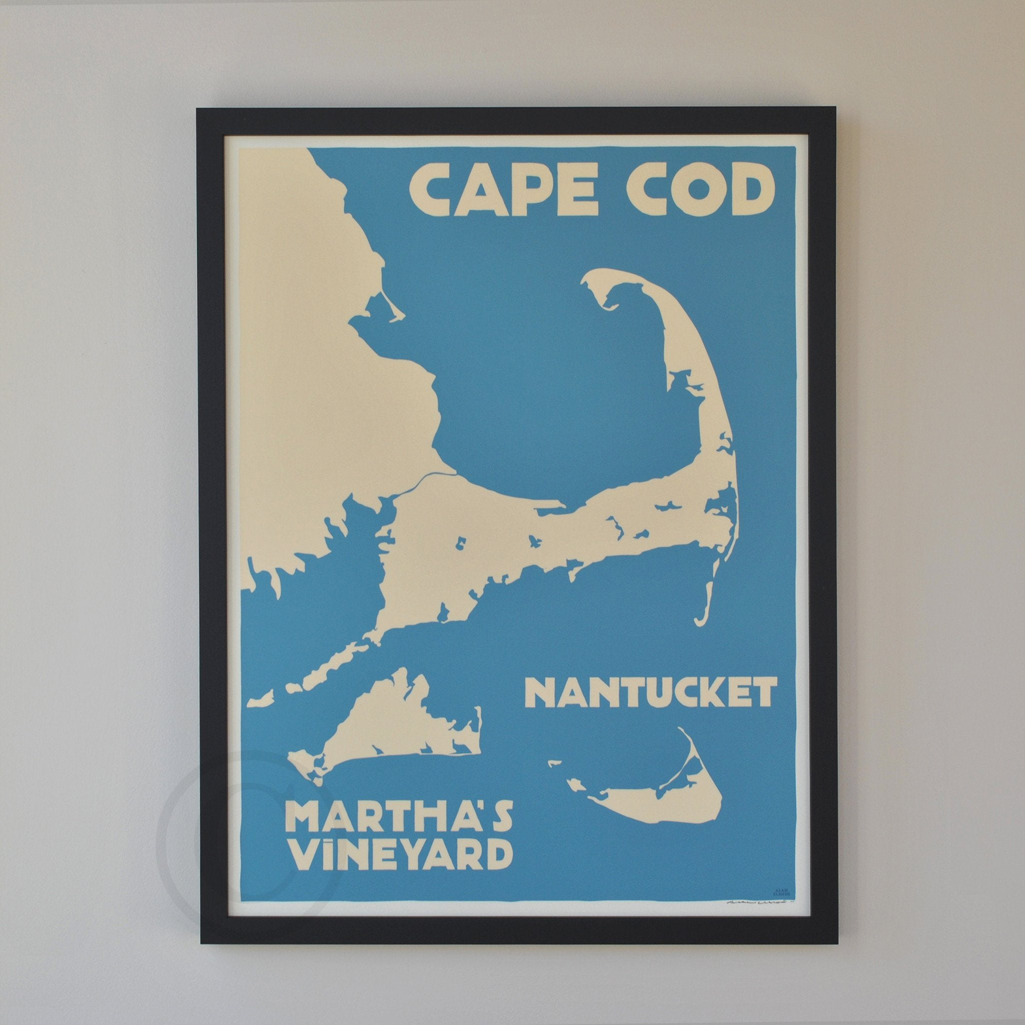 "Cape Cod, Martha's Vineyard, Nantucket Map Art Print 18"" x 24"" Framed Travel Poster - Massachusetts"
