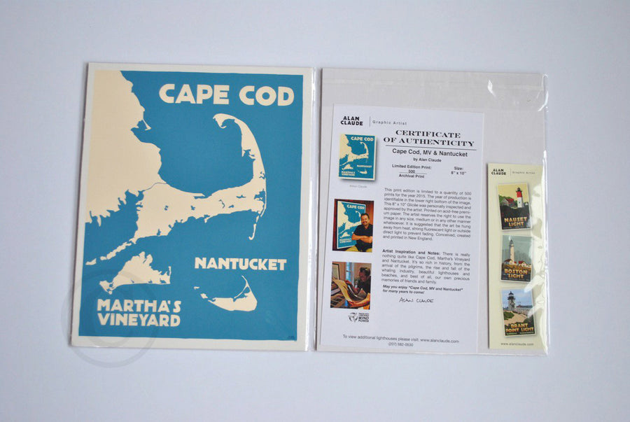 "Cape Cod, Martha's Vineyard, Nantucket Map Art Print 8"" x 10"" Travel Poster - Massachusetts"