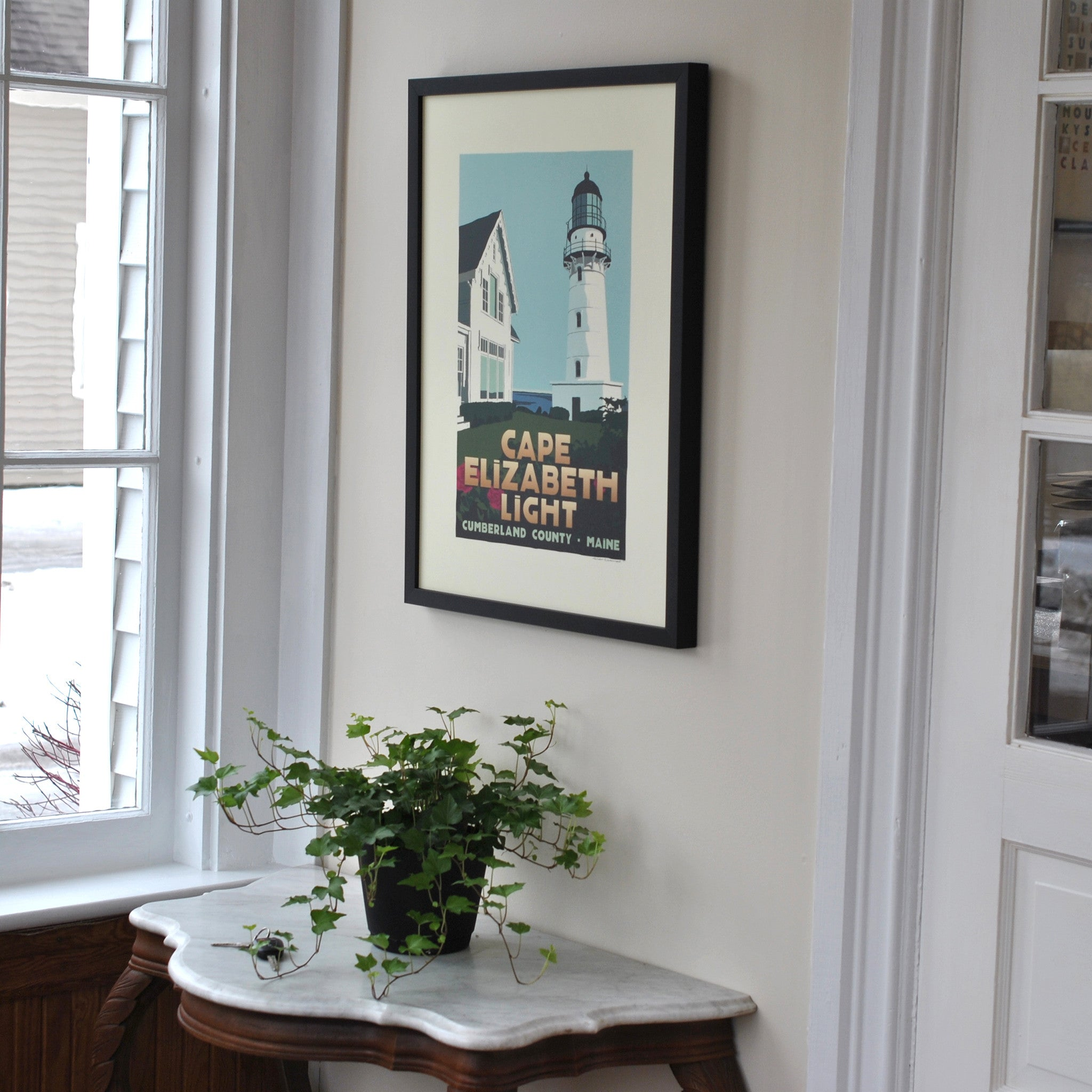 "Cape Elizabeth Light Art Print 18"" x 24"" Framed Travel Poster - Maine"