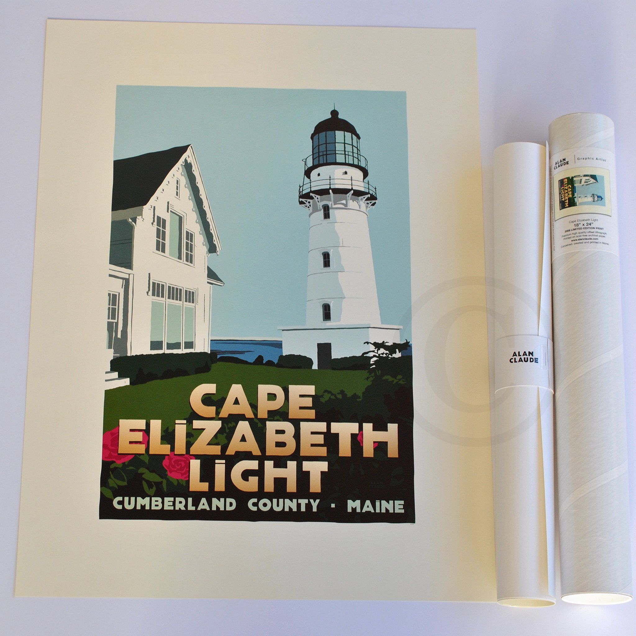 "Cape Elizabeth Light Art Print 18"" x 24"" Travel Poster - Maine"