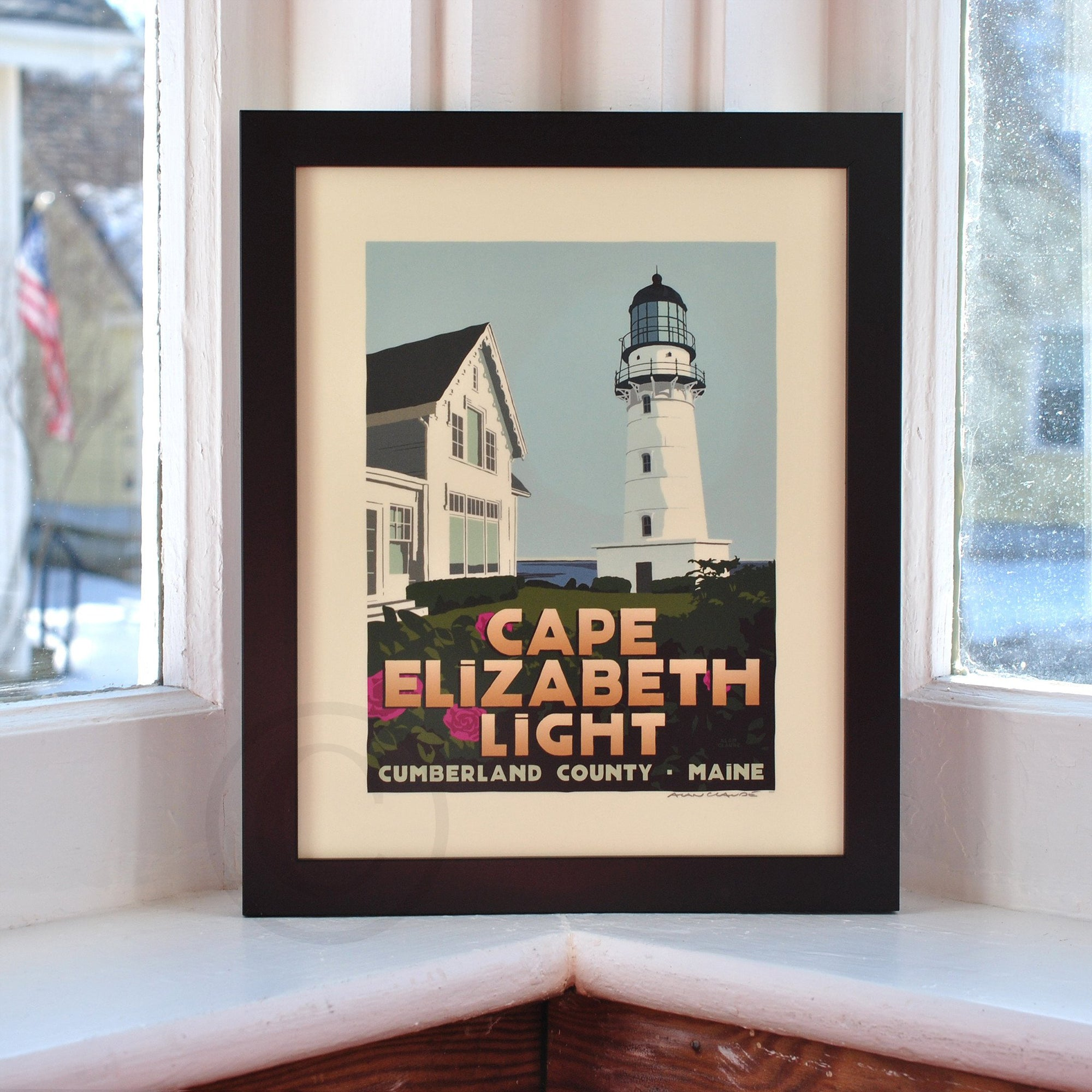"Cape Elizabeth Light Art Print 8"" x 10"" Framed Travel Poster - Maine"