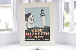 "Cape Elizabeth Light Art Print 8"" x 10"" Travel Poster - Maine"
